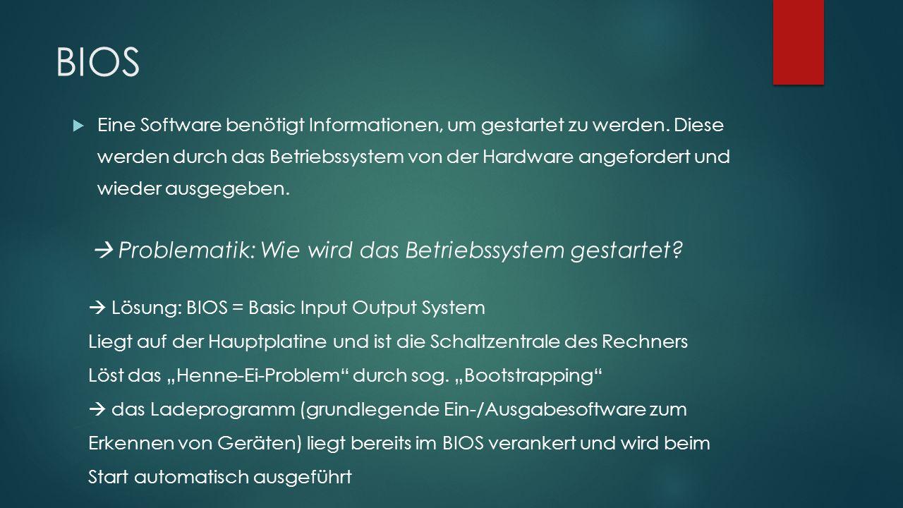 BIOS  Eine Software benötigt Informationen, um gestartet zu werden. Diese werden durch das Betriebssystem von der Hardware angefordert und wieder aus