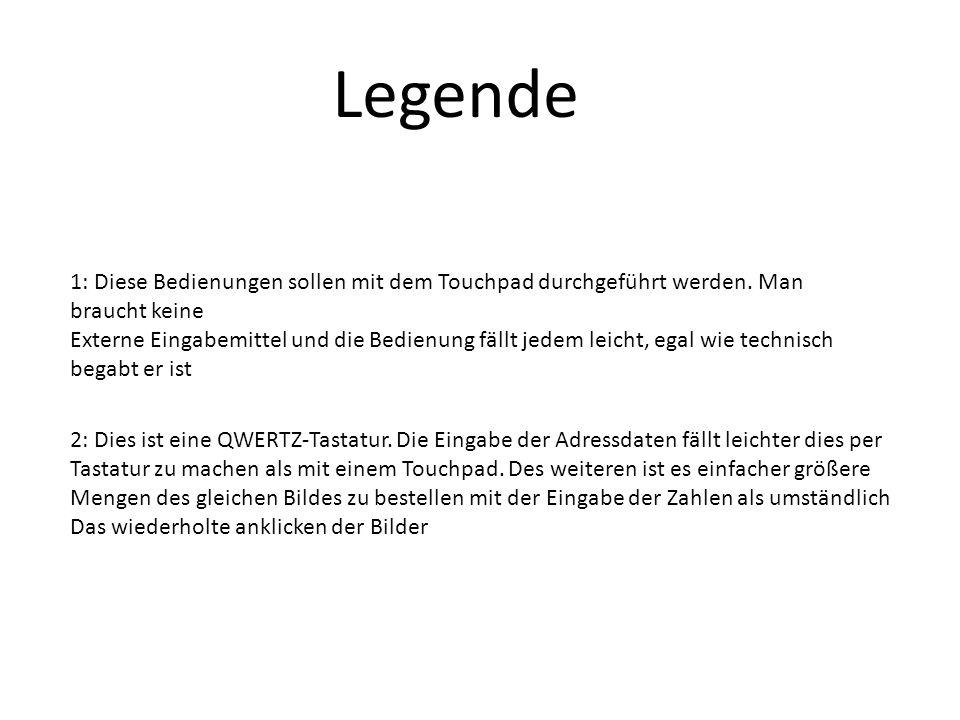 Legende 1: Diese Bedienungen sollen mit dem Touchpad durchgeführt werden.