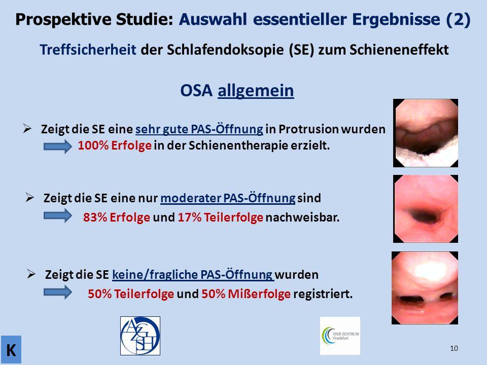 10 Prospektive Studie: Auswahl essentieller Ergebnisse (2) K Treffsicherheit der Schlafendoksopie (SE) zum Schieneneffekt OSA allgemein  Zeigt die SE