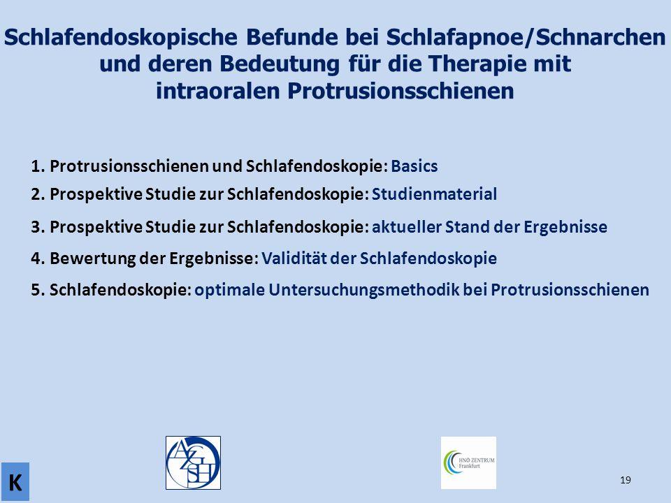 19 Schlafendoskopische Befunde bei Schlafapnoe/Schnarchen und deren Bedeutung für die Therapie mit intraoralen Protrusionsschienen 1. Protrusionsschie