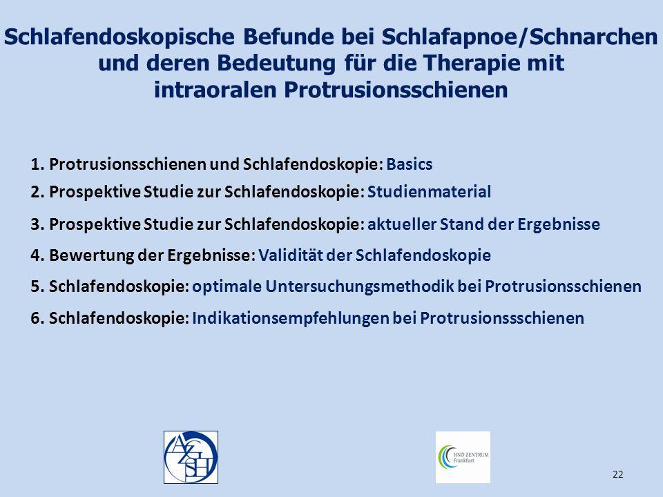 22 Schlafendoskopische Befunde bei Schlafapnoe/Schnarchen und deren Bedeutung für die Therapie mit intraoralen Protrusionsschienen 1. Protrusionsschie