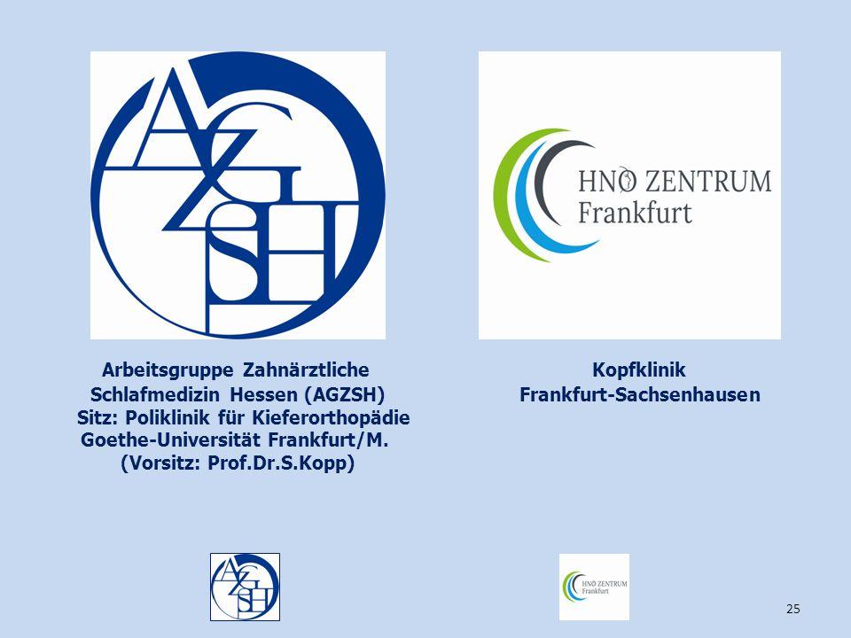 25 Kopfklinik Frankfurt-Sachsenhausen Arbeitsgruppe Zahnärztliche Schlafmedizin Hessen (AGZSH) Sitz: Poliklinik für Kieferorthopädie Goethe-Universitä