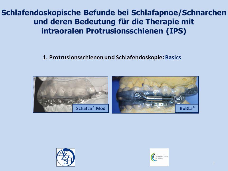 3 Schlafendoskopische Befunde bei Schlafapnoe/Schnarchen und deren Bedeutung für die Therapie mit intraoralen Protrusionsschienen (IPS) 1. Protrusions