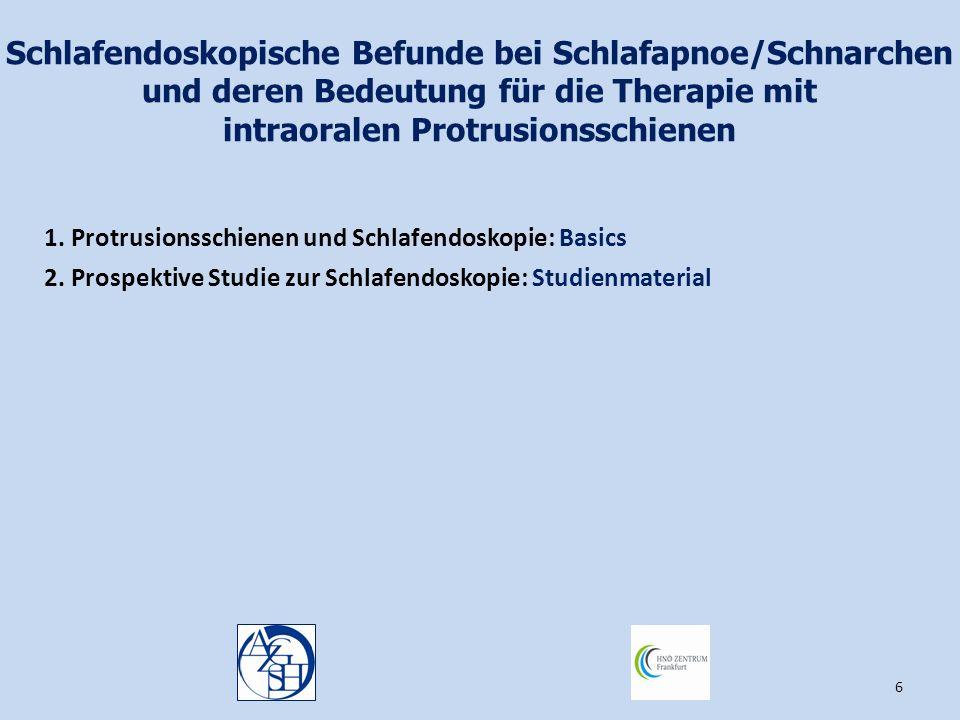 6 Schlafendoskopische Befunde bei Schlafapnoe/Schnarchen und deren Bedeutung für die Therapie mit intraoralen Protrusionsschienen 1. Protrusionsschien