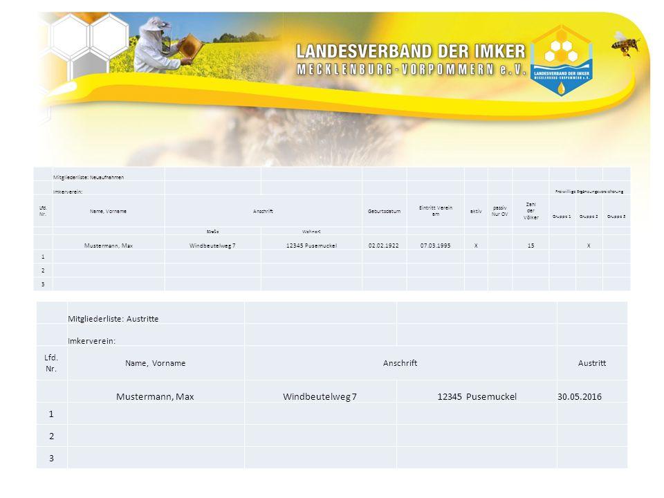 Mitgliederliste: Neuaufnahmen Imkerverein: Freiwillige Ergänzungsversicherung Lfd. Nr. Name, VornameAnschriftGeburtsdatum Eintritt Verein am aktiv pas