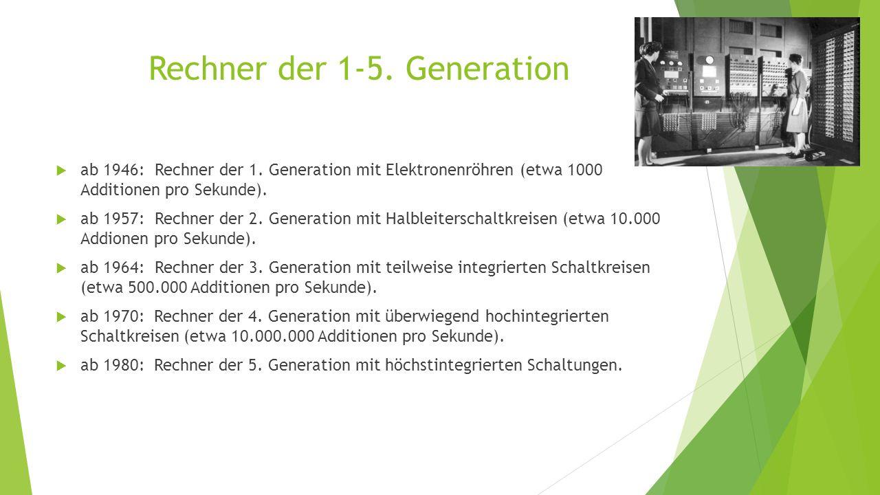 Rechner der 1-5. Generation  ab 1946: Rechner der 1. Generation mit Elektronenröhren (etwa 1000 Additionen pro Sekunde).  ab 1957: Rechner der 2. Ge