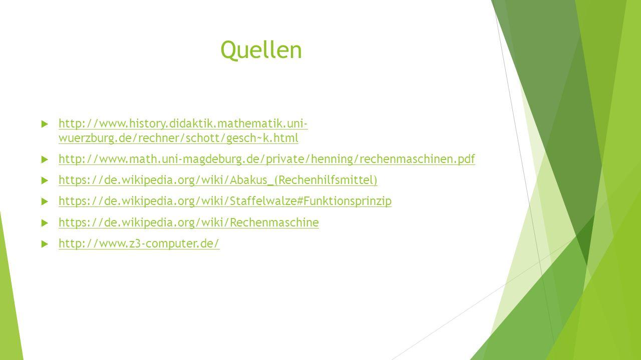 Quellen  http://www.history.didaktik.mathematik.uni- wuerzburg.de/rechner/schott/gesch~k.html http://www.history.didaktik.mathematik.uni- wuerzburg.d