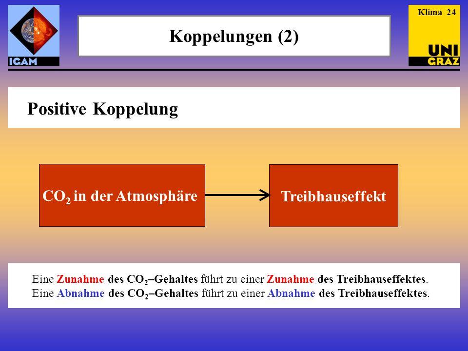 Koppelungen (2) Klima 24 Positive Koppelung CO 2 in der Atmosphäre Treibhauseffekt Eine Zunahme des CO 2 –Gehaltes führt zu einer Zunahme des Treibhau