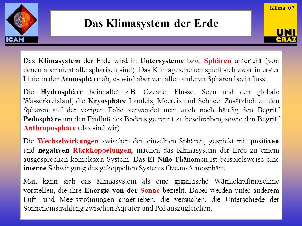 Das Klimasystem der Erde wird in Untersysteme bzw. Sphären unterteilt (von denen aber nicht alle sphärisch sind). Das Klimageschehen spielt sich zwar