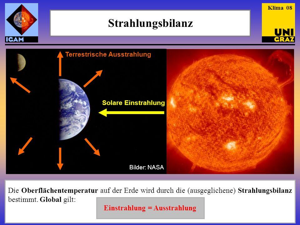 c Die Oberflächentemperatur auf der Erde wird durch die (ausgeglichene) Strahlungsbilanz bestimmt. Global gilt: Strahlungsbilanz Einstrahlung = Ausstr