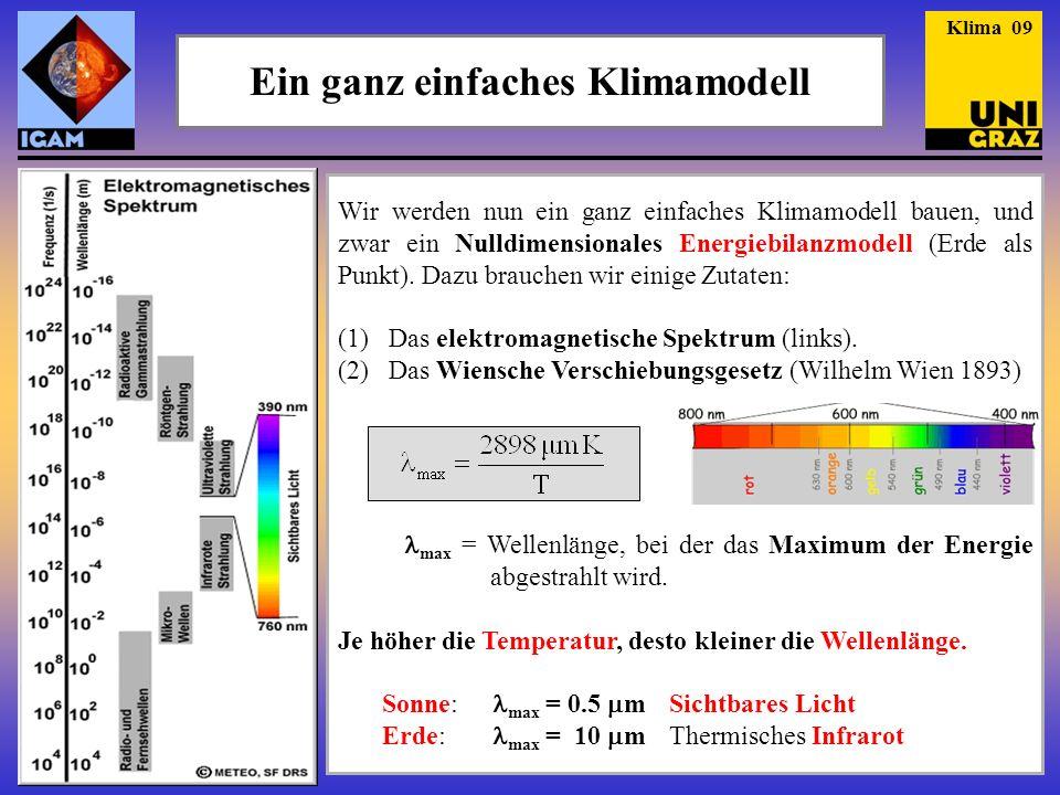 Einstrahlung (3) Die Solarkonstante (S) Damit ist die Energie gemeint, die pro Sekunde außerhalb der Erdatmosphäre senkrecht auf eine Fläche von 1 m 2 trifft (und das noch in der mittleren Entfernung der Erde von der Sonne).