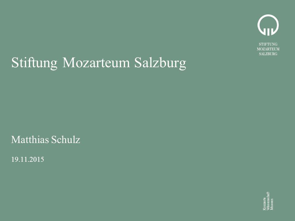 Konzerte Wissenschaft Museen Stiftung Mozarteum Salzburg Matthias Schulz 19.11.2015