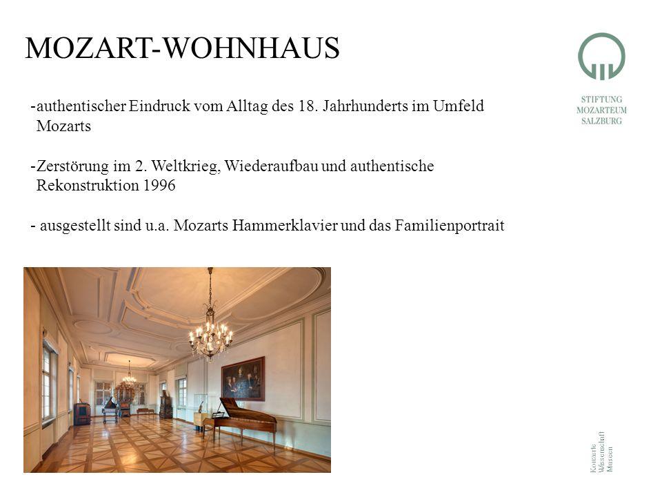 Konzerte Wissenschaft Museen MOZART-WOHNHAUS -authentischer Eindruck vom Alltag des 18. Jahrhunderts im Umfeld Mozarts -Zerstörung im 2. Weltkrieg, Wi