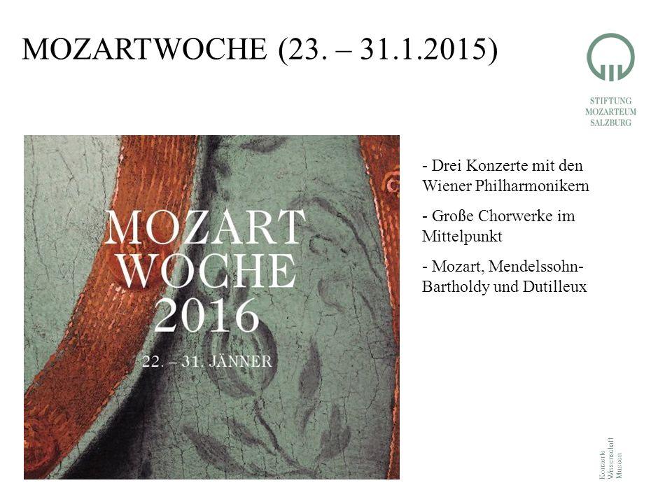 Konzerte Wissenschaft Museen MOZARTWOCHE (23. – 31.1.2015) - Drei Konzerte mit den Wiener Philharmonikern - Große Chorwerke im Mittelpunkt - Mozart, M