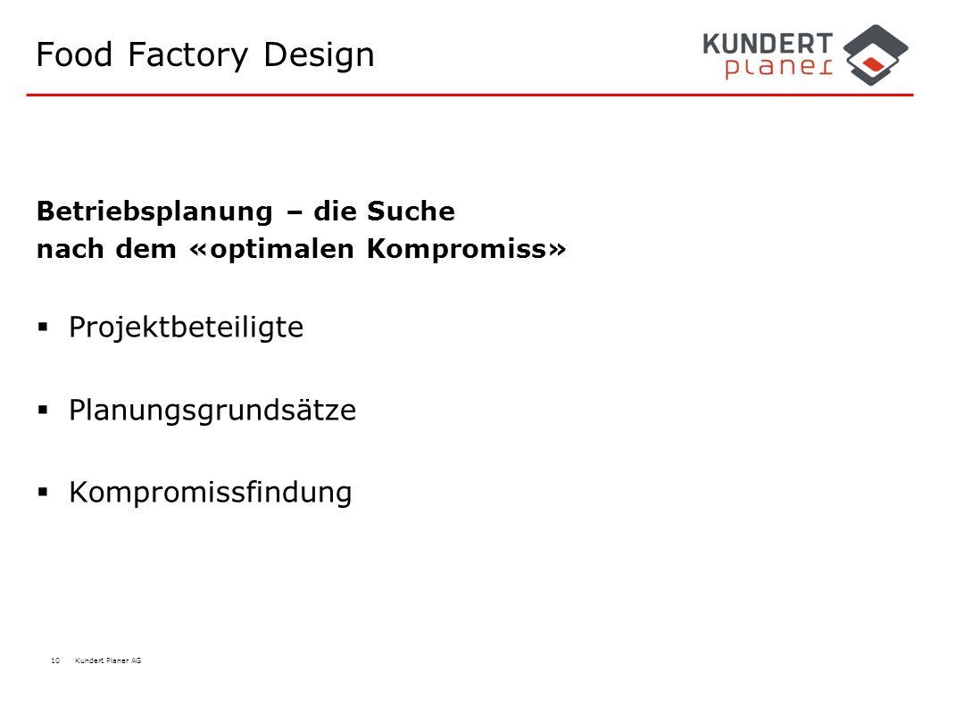 10 Kundert Planer AG Food Factory Design Betriebsplanung – die Suche nach dem «optimalen Kompromiss»  Projektbeteiligte  Planungsgrundsätze  Kompro