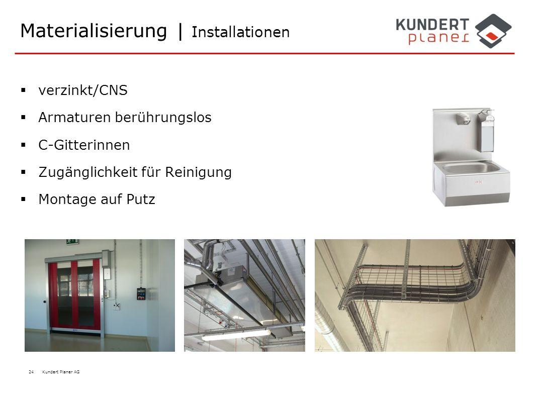 24 Kundert Planer AG Materialisierung | Installationen  verzinkt/CNS  Armaturen berührungslos  C-Gitterinnen  Zugänglichkeit für Reinigung  Monta