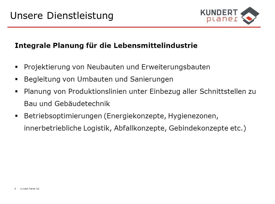 5 Kundert Planer AG Unsere Dienstleistung Integrale Planung für die Lebensmittelindustrie  Projektierung von Neubauten und Erweiterungsbauten  Begle