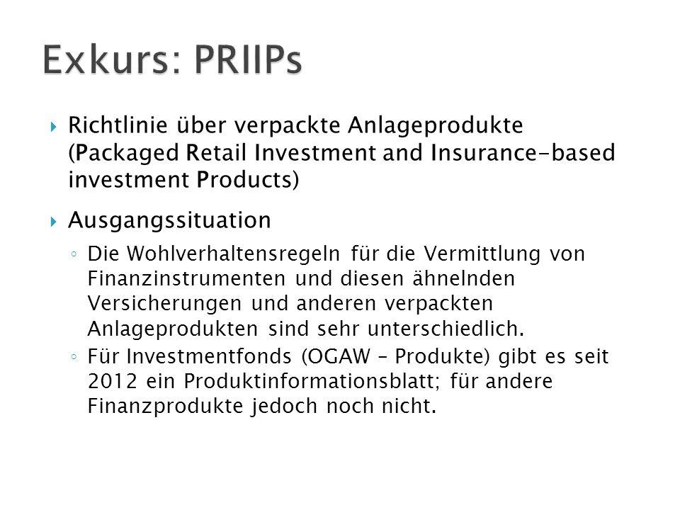  Richtlinie über verpackte Anlageprodukte (Packaged Retail Investment and Insurance-based investment Products)  Ausgangssituation ◦ Die Wohlverhalte