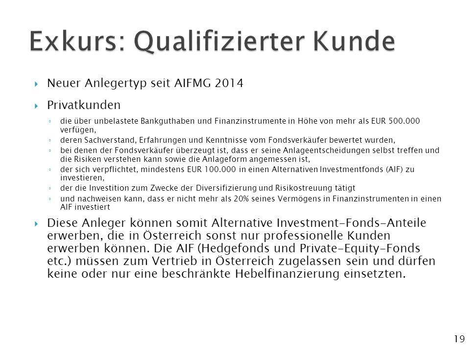  Neuer Anlegertyp seit AIFMG 2014  Privatkunden ◦ die über unbelastete Bankguthaben und Finanzinstrumente in Höhe von mehr als EUR 500.000 verfügen, ◦ deren Sachverstand, Erfahrungen und Kenntnisse vom Fondsverkäufer bewertet wurden, ◦ bei denen der Fondsverkäufer überzeugt ist, dass er seine Anlageentscheidungen selbst treffen und die Risiken verstehen kann sowie die Anlageform angemessen ist, ◦ der sich verpflichtet, mindestens EUR 100.000 in einen Alternativen Investmentfonds (AIF) zu investieren, ◦ der die Investition zum Zwecke der Diversifizierung und Risikostreuung tätigt ◦ und nachweisen kann, dass er nicht mehr als 20% seines Vermögens in Finanzinstrumenten in einen AIF investiert  Diese Anleger können somit Alternative Investment-Fonds-Anteile erwerben, die in Österreich sonst nur professionelle Kunden erwerben können.