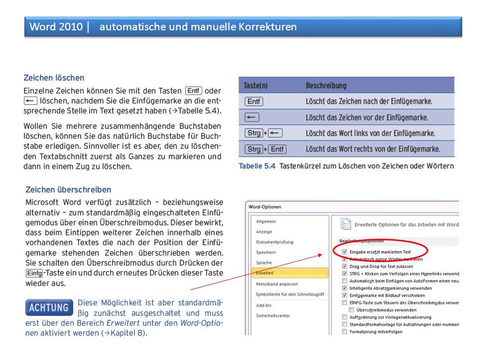 Aufgaben: Korrekturen Word 2010 │ automatische und manuelle Korrekturen Öffne ein neues Dokument in Word Stelle die Schriftart und -grösse auf Arial 8 ein Erzeuge mit der Formel =rand(8,8) einen Text mit 8 Absätzen und 8 Sätzen Kürze den Text auf 9000 Zeichen (inkl.
