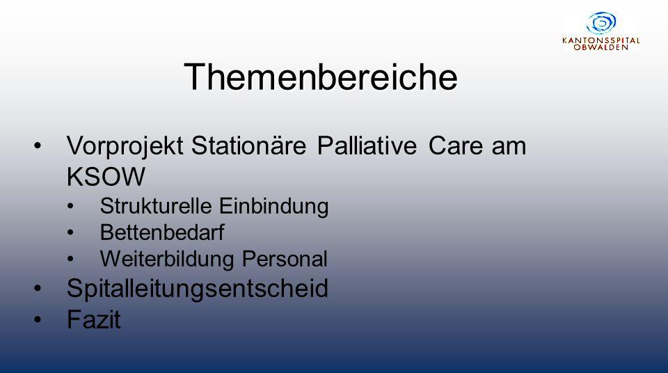 Themenbereiche Vorprojekt Stationäre Palliative Care am KSOW Strukturelle Einbindung Bettenbedarf Weiterbildung Personal Spitalleitungsentscheid Fazit