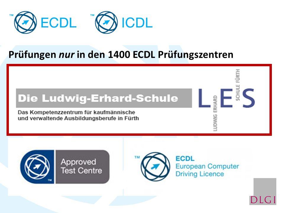 Prüfungen nur in den 1400 ECDL Prüfungszentren