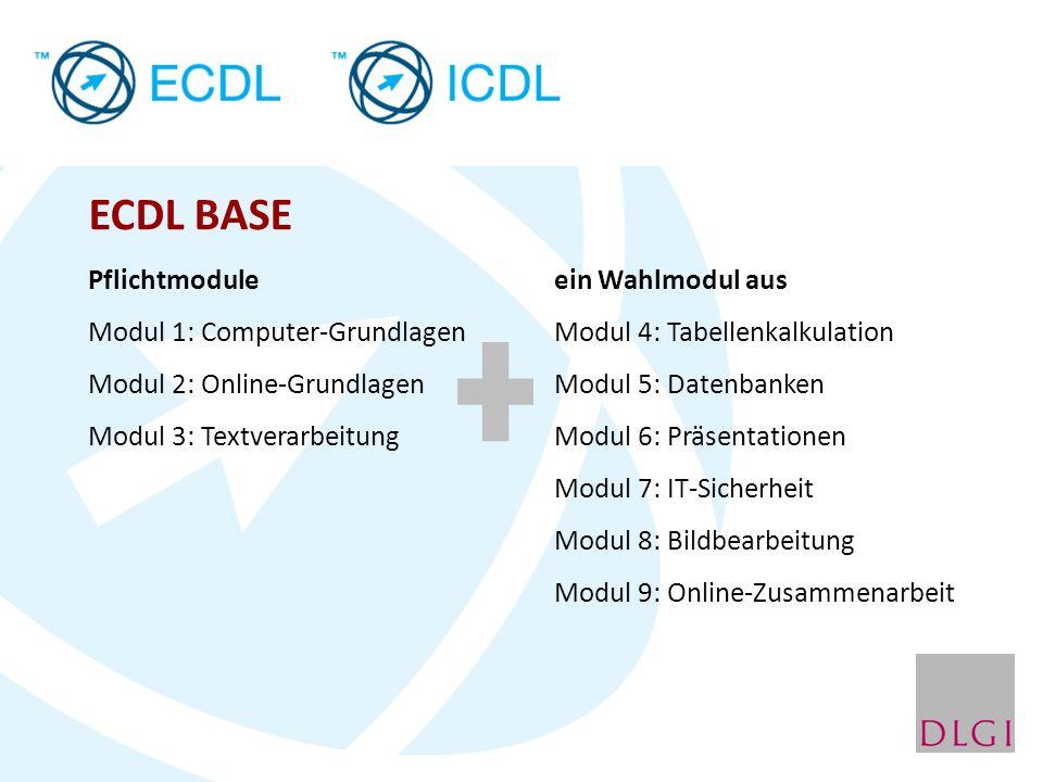 ECDL STANDARD Voraussetzung ECDL BASE drei Wahlmodule aus Modul 4: Tabellenkalkulation Modul 5: Datenbanken Modul 6: Präsentationen Modul 7: IT-Sicherheit Modul 8: Bildbearbeitung Modul 9: Online-Zusammenarbeit (ohne Wahlmodul aus ECDL BASE)