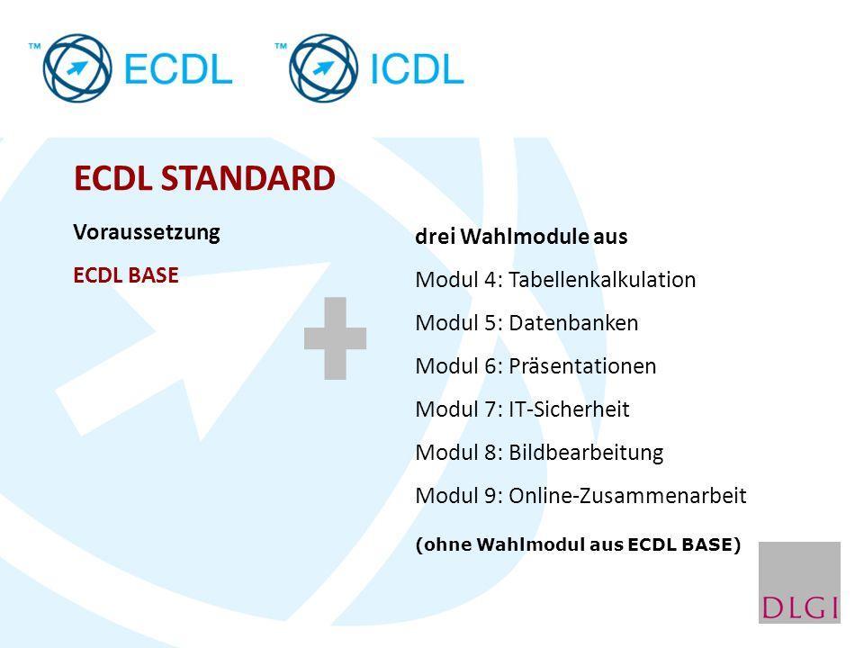 ECDL STANDARD Voraussetzung ECDL BASE drei Wahlmodule aus Modul 4: Tabellenkalkulation Modul 5: Datenbanken Modul 6: Präsentationen Modul 7: IT-Sicher