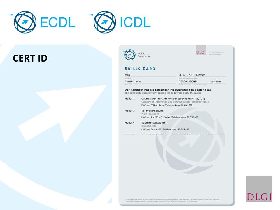 Die ECDL-Prüfungen Unter Aufsicht des Testleiters als Online-Prüfung im PC- Schulungsraum Pro Modul eine Prüfung mit 36 Fragen (Zeit: 35 Minuten) Bestanden, wenn 75 % der Fragen richtig beantwortet.