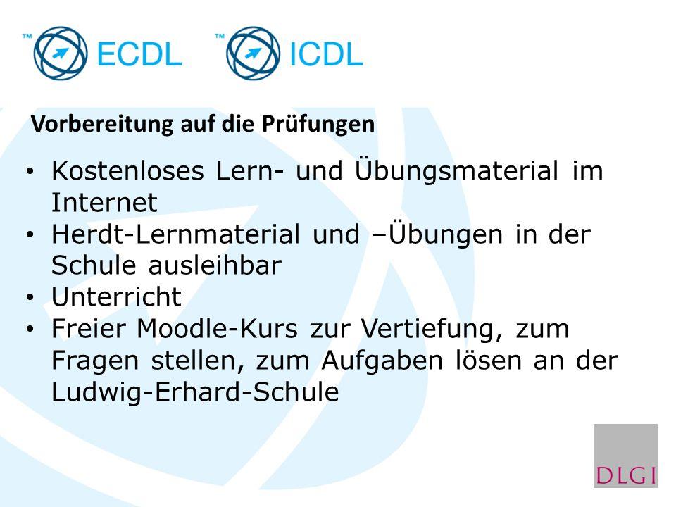 Kostenloses Lernmaterial mit Übungstests der DLGI http:// www.ecdl-moodle.de Freies Lern-/Übungsmaterial im Internet: http://www.computertraining4you.eu http://www.easy4me.info http://www.informatikserver.at/ooo http:// www.klickdichschlau.at