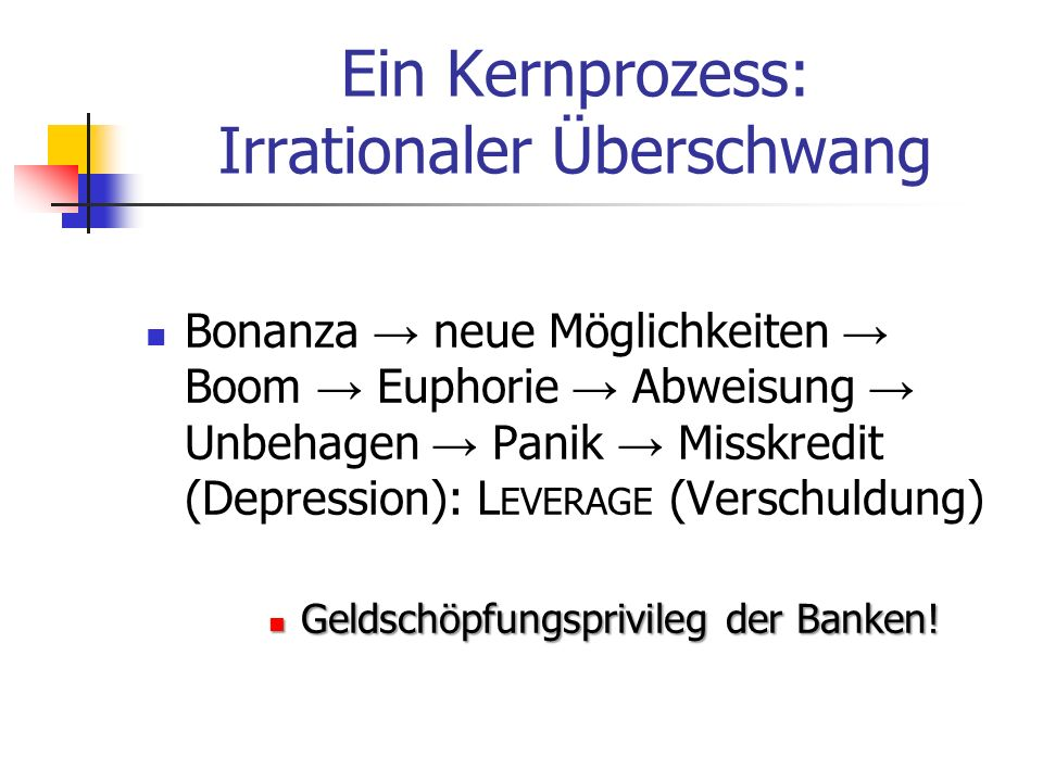 Erkannte Krisenursache: Banken-Kreditgeldschöpfung Claudio Borio (BIZ): The financial cycle and macroeconomics … Brunnermeier/Schnabel: Bubbles and central banks, Mimeo, 2015 Cleaning or leaning (nur makroprudentielle Regulation) Tabu: Vollgeld
