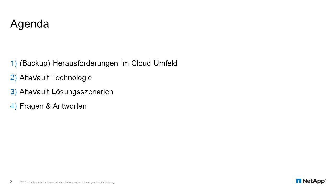 Agenda 1)(Backup)-Herausforderungen im Cloud Umfeld 2)AltaVault Technologie 3)AltaVault Lösungsszenarien 4)Fragen & Antworten © 2015 NetApp. Alle Rech