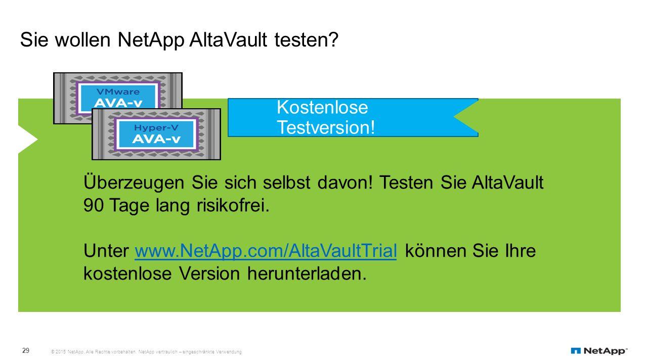 Sie wollen NetApp AltaVault testen? © 2015 NetApp. Alle Rechte vorbehalten. NetApp vertraulich – eingeschränkte Verwendung 29 Überzeugen Sie sich selb