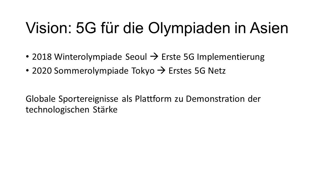 Vision: 5G für die Olympiaden in Asien 2018 Winterolympiade Seoul  Erste 5G Implementierung 2020 Sommerolympiade Tokyo  Erstes 5G Netz Globale Sportereignisse als Plattform zu Demonstration der technologischen Stärke