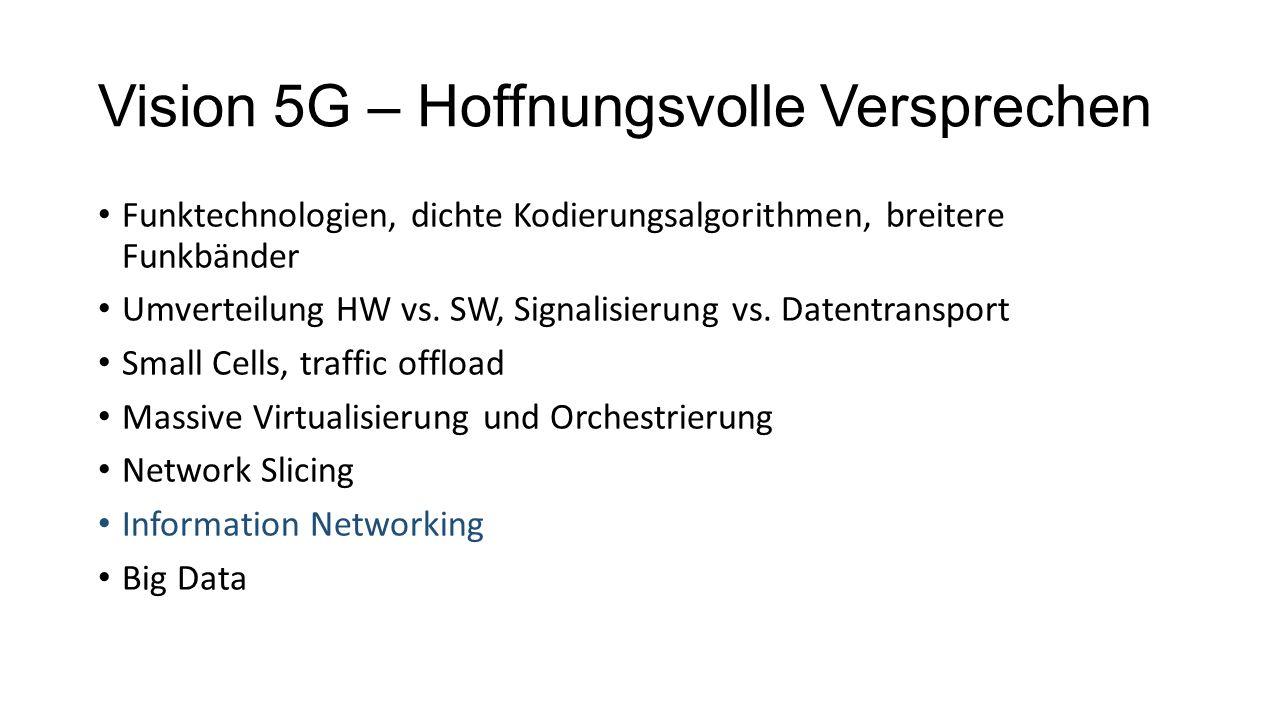 Vision 5G – Hoffnungsvolle Versprechen Funktechnologien, dichte Kodierungsalgorithmen, breitere Funkbänder Umverteilung HW vs.