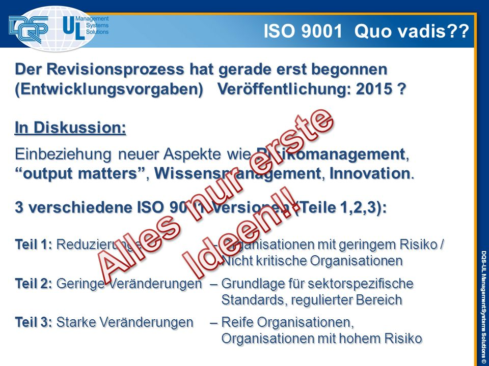 DQS-UL Management Systems Solutions © ISO 9001 Quo vadis .
