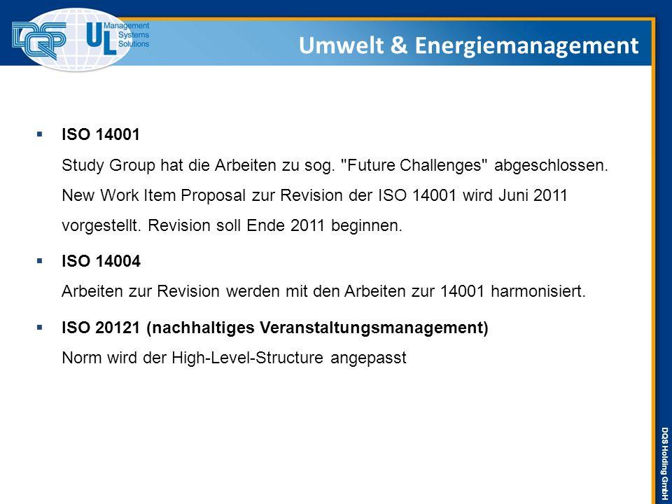 DQS Holding GmbH  ISO 14031 ( Umweltleistungsbewertung ) CD liegt vor, Abstimmung endet 21.02.2011 Task Force Sector Specific Methodology gegründet.