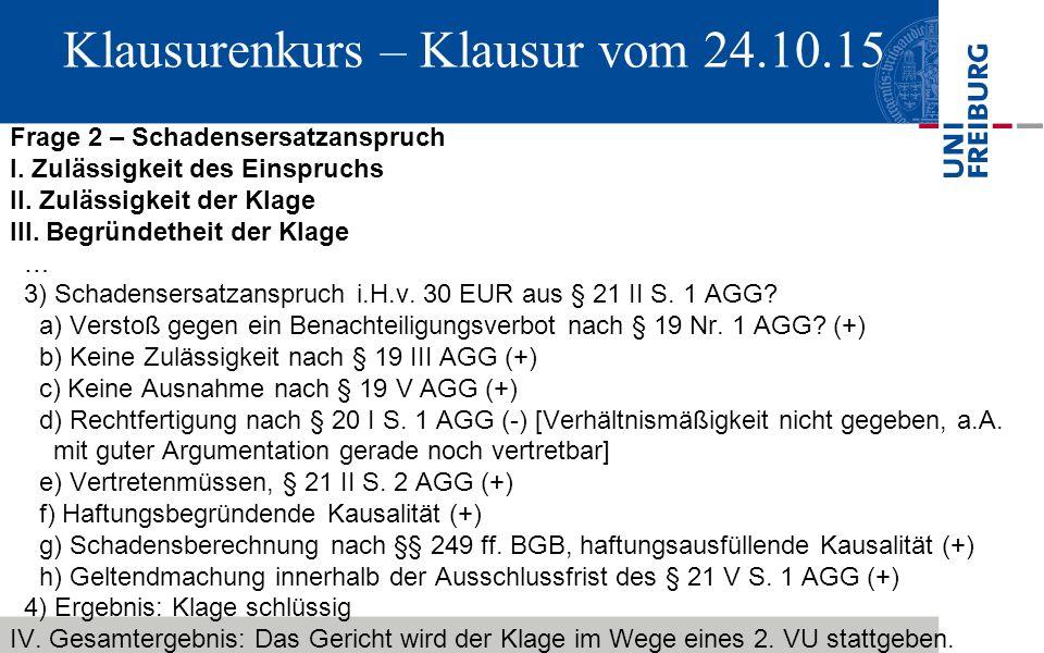 Klausurenkurs – Klausur vom 24.10.15 Frage 2 – Schadensersatzanspruch I.