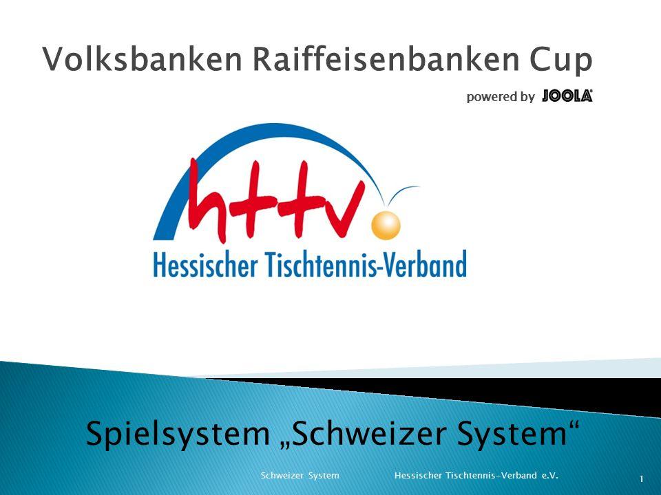 """Volksbanken Raiffeisenbanken Cup powered by Schweizer System Hessischer Tischtennis-Verband e.V. 1 Spielsystem """"Schweizer System"""""""