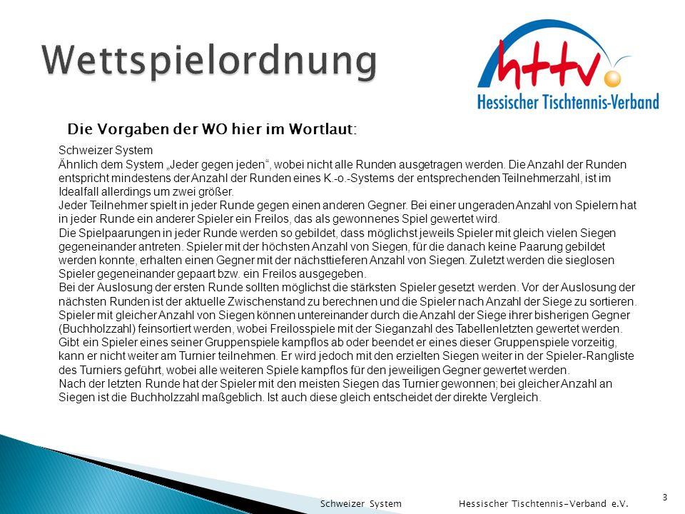 """3 Die Vorgaben der WO hier im Wortlaut: Schweizer System Ähnlich dem System """"Jeder gegen jeden"""", wobei nicht alle Runden ausgetragen werden. Die Anzah"""