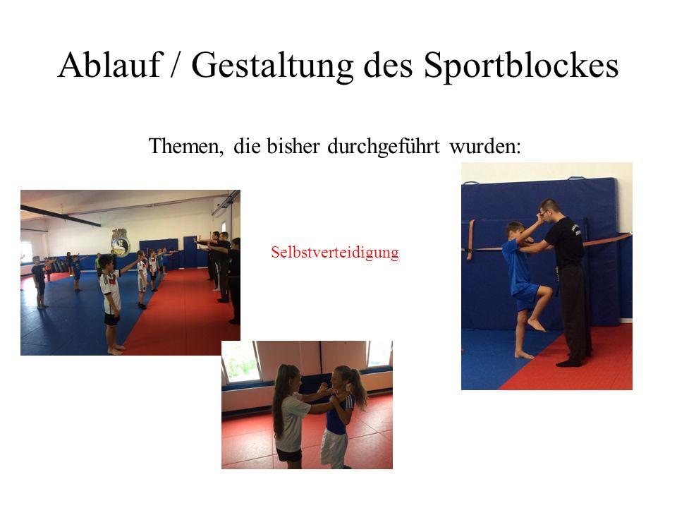 Ablauf / Gestaltung des Sportblockes Themen, die bisher durchgeführt wurden: Selbstverteidigung