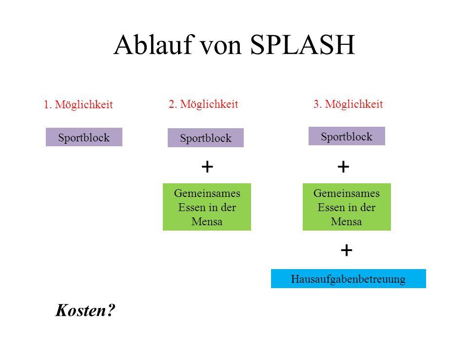 1. Möglichkeit Sportblock 2. Möglichkeit Sportblock + Gemeinsames Essen in der Mensa 3.