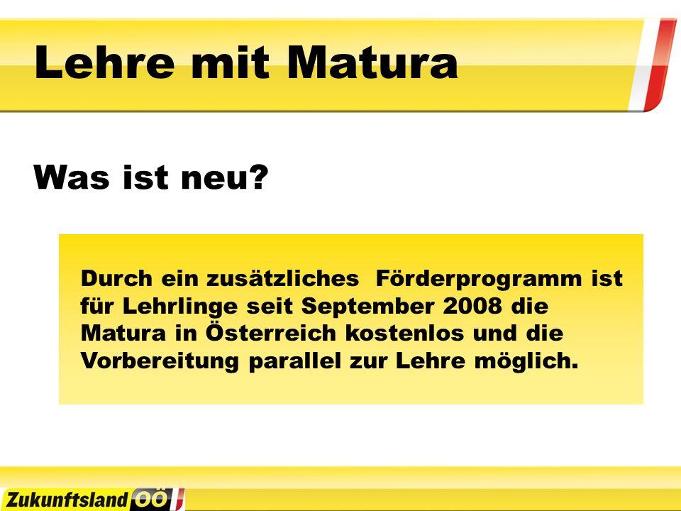 Durch ein zusätzliches Förderprogramm ist für Lehrlinge seit September 2008 die Matura in Österreich kostenlos und die Vorbereitung parallel zur Lehre möglich.