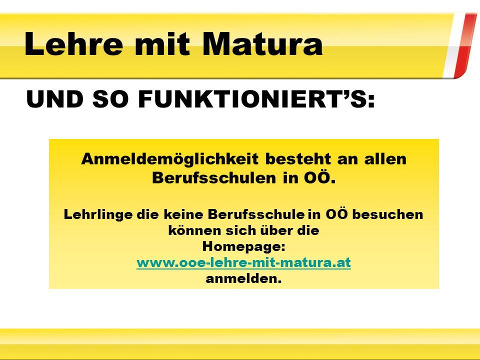 Für Informationen steht Ihnen die Homepage: www.ooe-lehre-mit-matura.at oder die Infohotline: LSR für Oberösterreich 0732 7071 3065 Mo - Fr von 8:30 bis 12:30 Uhr zur Verfügung.