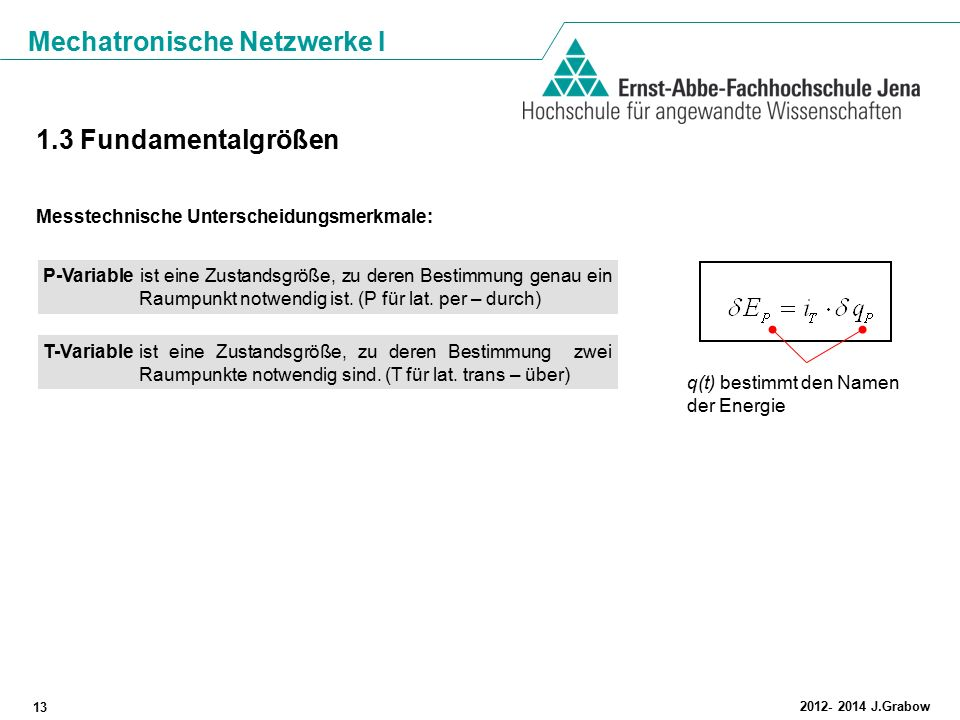 Mechatronische Netzwerke I 13 2012- 2014 J.Grabow 1.3 Fundamentalgrößen Messtechnische Unterscheidungsmerkmale: P-Variable ist eine Zustandsgröße, zu