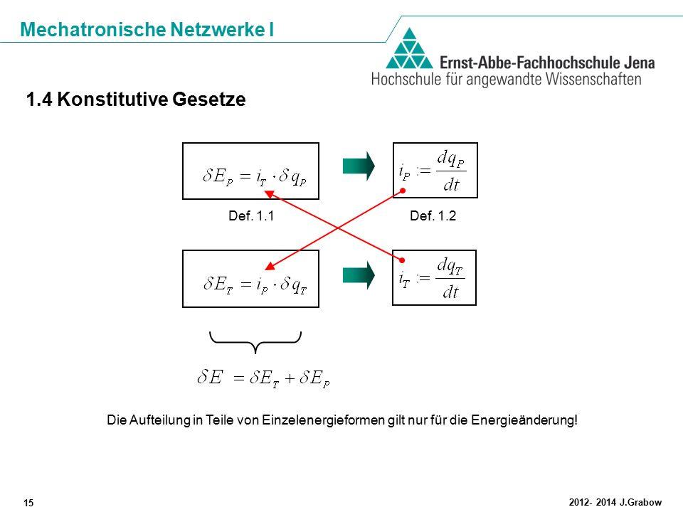 Mechatronische Netzwerke I 15 2012- 2014 J.Grabow 1.4 Konstitutive Gesetze Def. 1.1Def. 1.2 Die Aufteilung in Teile von Einzelenergieformen gilt nur f