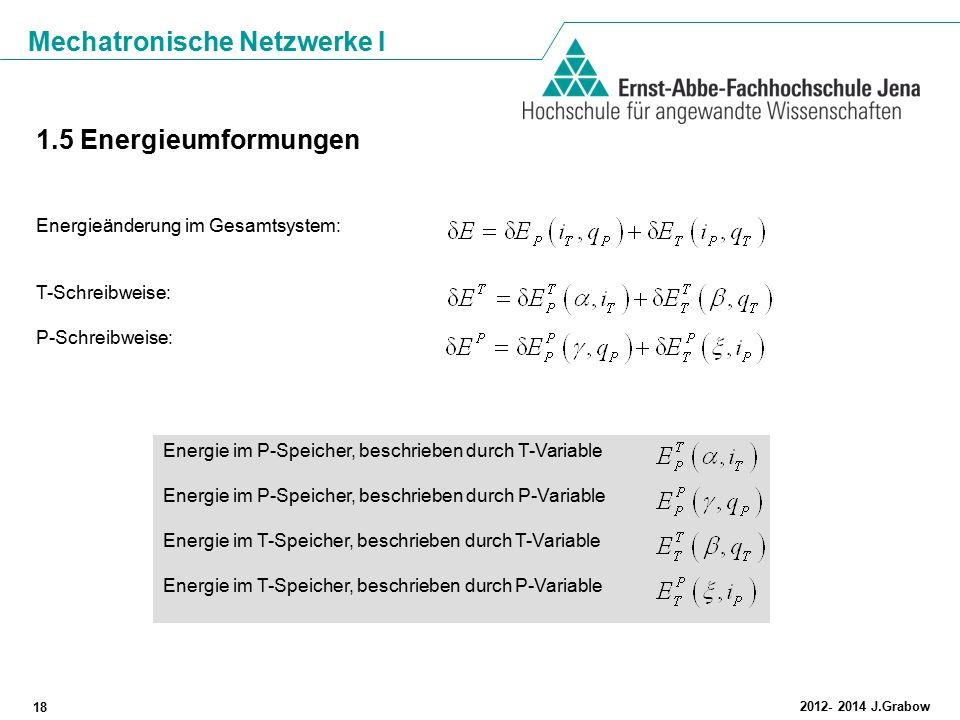 Mechatronische Netzwerke I 18 2012- 2014 J.Grabow 1.5 Energieumformungen Energieänderung im Gesamtsystem: T-Schreibweise: P-Schreibweise: Energie im P