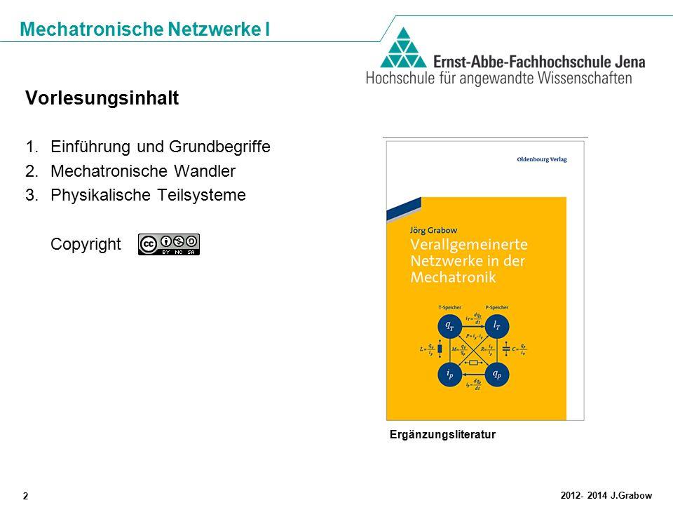 Mechatronische Netzwerke I 2 2012- 2014 J.Grabow Vorlesungsinhalt 1.Einführung und Grundbegriffe 2.Mechatronische Wandler 3.Physikalische Teilsysteme
