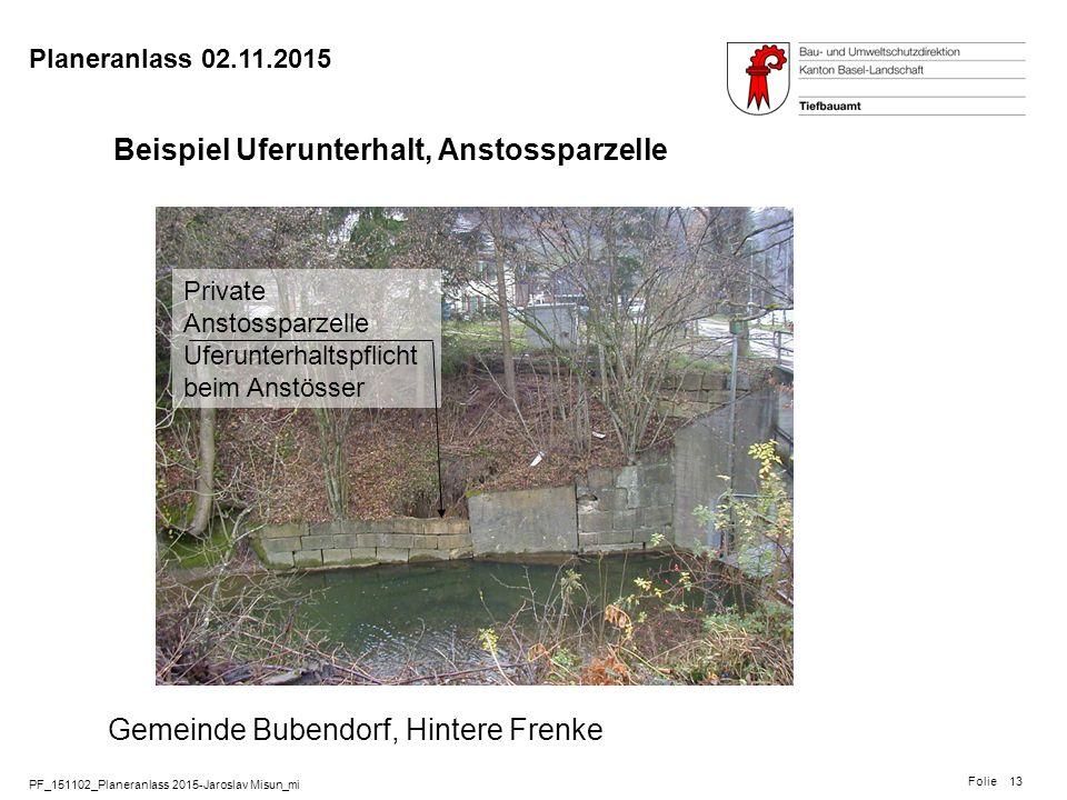 PF_151102_Planeranlass 2015-Jaroslav Misun_mi Folie Planeranlass 02.11.2015 13 Beispiel Uferunterhalt, Anstossparzelle Gemeinde Bubendorf, Hintere Fre