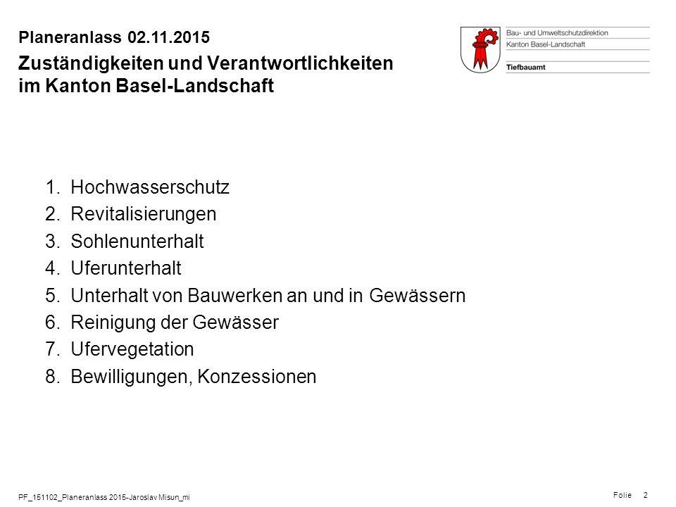 PF_151102_Planeranlass 2015-Jaroslav Misun_mi Folie Planeranlass 02.11.2015 2 Zuständigkeiten und Verantwortlichkeiten im Kanton Basel-Landschaft 1.Ho